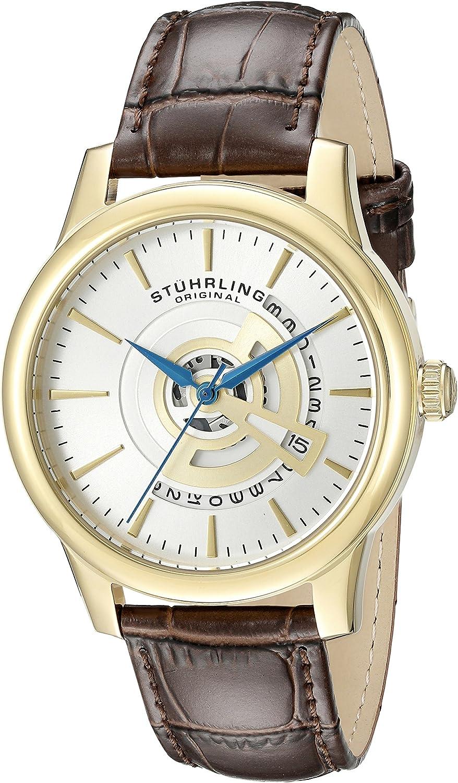 Stuhrling Original Men's 787.03 Symphony Quartz Date Leather Strap Brown Watch