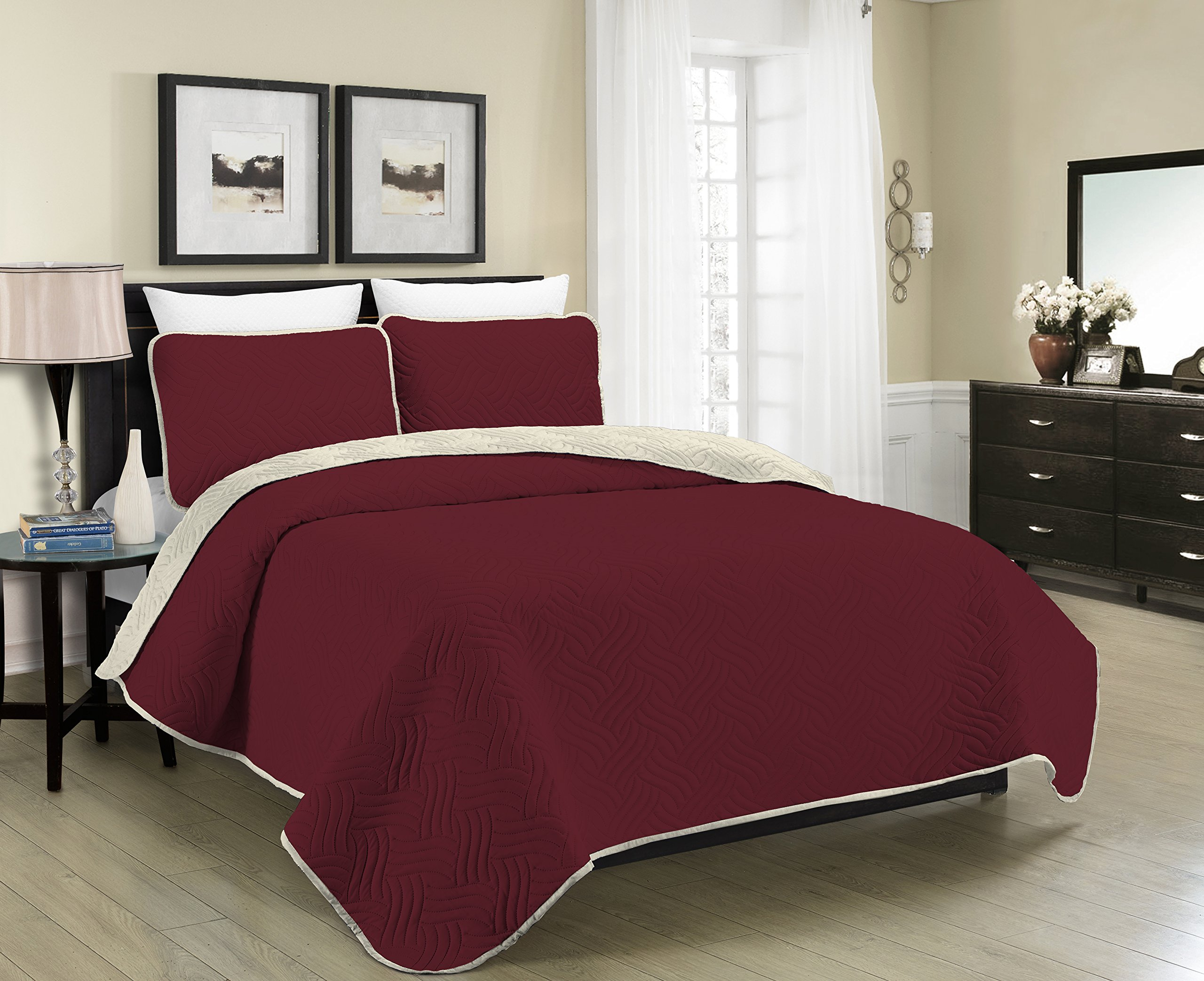 Blissful Living Reversible Luxury Pinsonic Solid Quilt Set Including Shams – Lightweight and Soft for All Year Round Comfort, Available in Twin, Full/Queen and King Size (Burgundy/Cream, King)