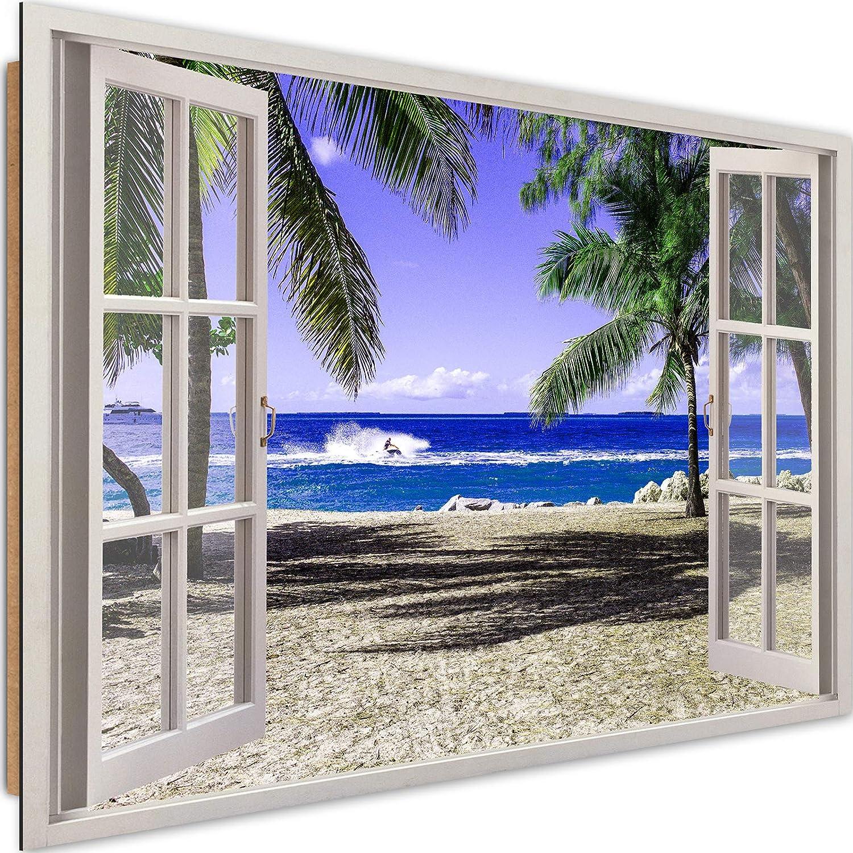 Feeby Cuadro Imagen XXL Vista de la Ventana Impresión de Arte Playa Mar Multi 120x80 cm