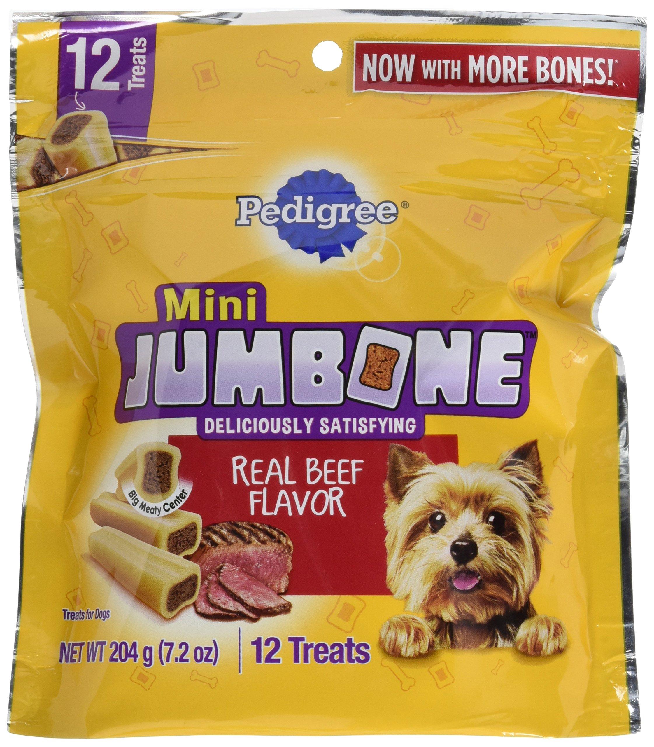 Pedigree Jumbone Real Beef Flavor Mini Dog Treats (12 Treats), 7.2 Oz, Pack Of 8