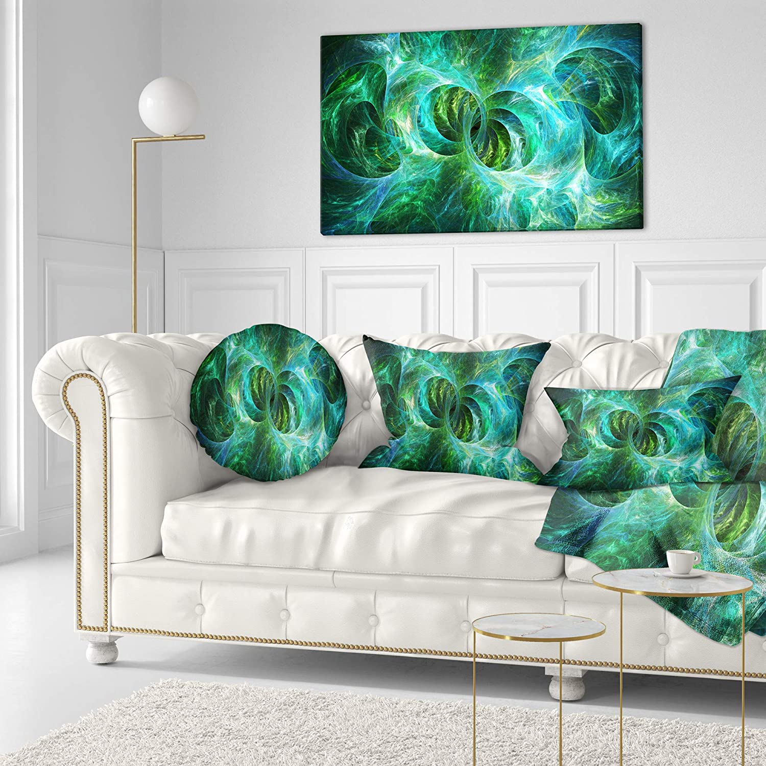 x 20 in Sofa 12 in Designart CU16190-12-20 Blue Fractal Ornamental Glass Abstract Lumbar Cushion Cover for Living Room Insert Printed On Both Side Throw Pillow