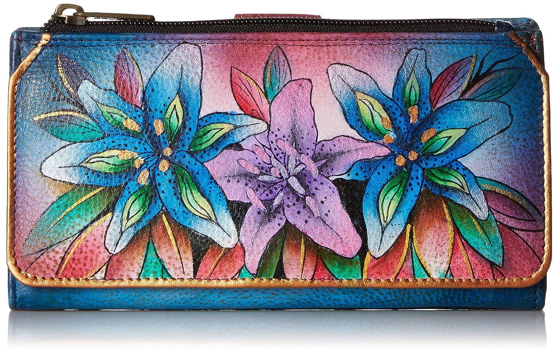 Anuschka handgemalte Leder, Damenbörse, Damenkupplung, Geldbörse der Frauen-Organizer Wallet/ Clutch ( Luscious Lilies -Denim 1114 LLY-D) Damenbörse