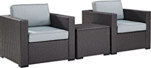 Crosley Furniture Biscayne 3-Piece Outdoor Wicker Conversation Set, Brown with Mist Cushions