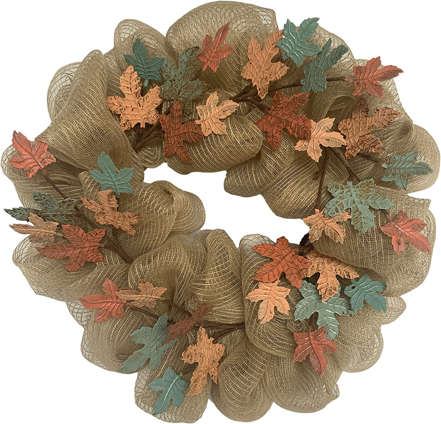 Huashen Fall Rustic Metal Maple Leaf Wreath, Farmhouse Harvest Decor on Grapevine with Mesh for Front Door Wall Window 24inch
