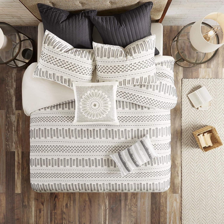 Ink+Ivy Rhea Cotton Jacquard Comforter Mini Set, Full/Queen, Ivory/Charcoal