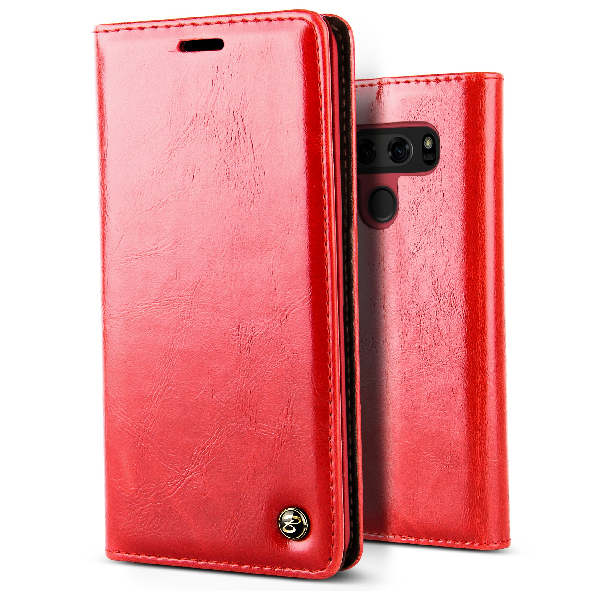 B BELK LG V30 Case, Premium Vintage Leather Wallet Phone Case [Velvet Lining] [Kickstand] [Card Slot] Classical Business Style Flip Cover for LG V30 (Red) by B BELK