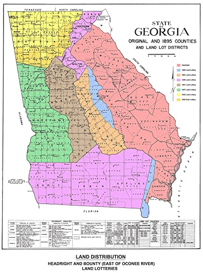 State Of Georgia Map With Counties.Amazon Com Georgia Map Of Original And 1895 Counties And