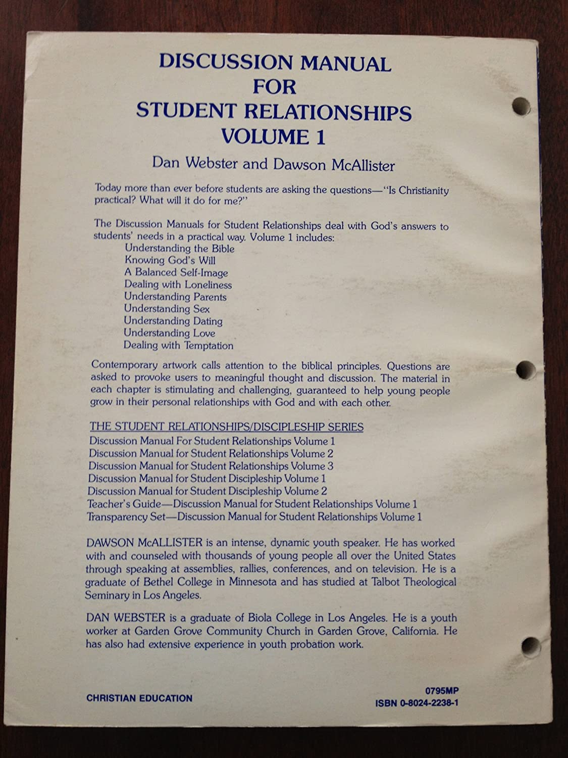 Amazon.com: DISCUSSION MANUAL FOR STUDENT RELATIONSHIPS Volume 1 Vol. One:  Dan Webster: Health & Personal Care