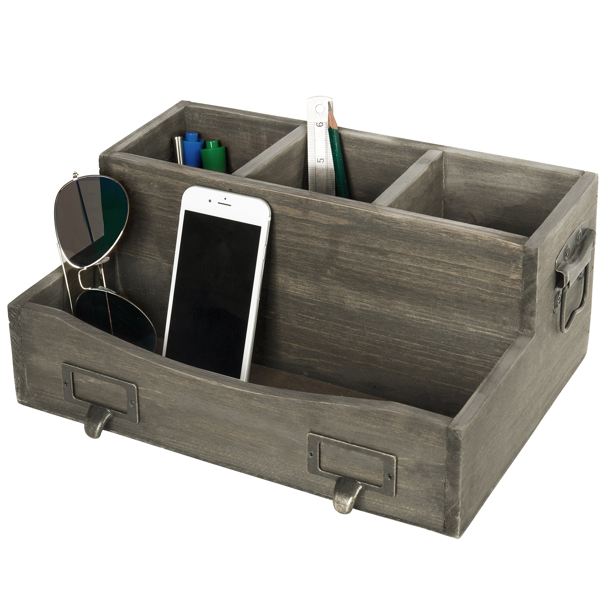 Barnwood Brown Desktop Magazine & Office Supplies Organizer with Metal Drawer-Pull Labels & Side Handles by MyGift (Image #1)