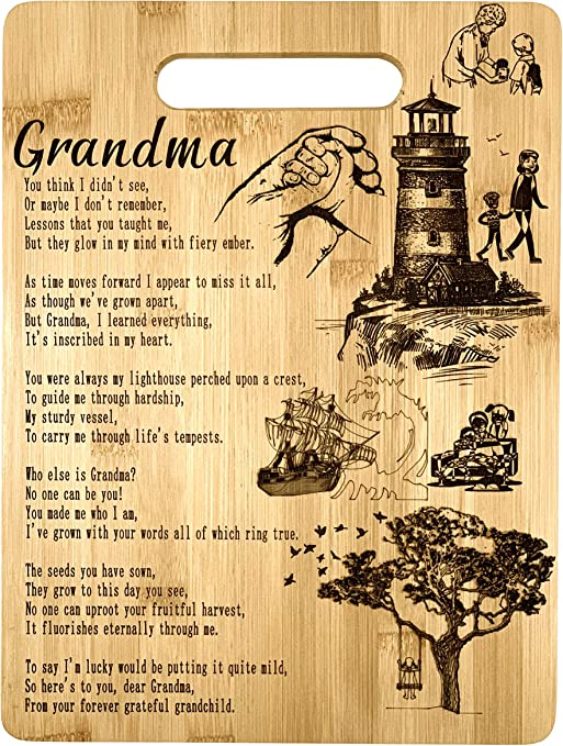 Amazon Com Grandma Gift Bamboo Cutting Board Design Poem Grandma Gift Grandmas Day Gift Birthday Christmas Gift Engraved Side For Decor Hanging Reverse Side For Usage 8 75x11 5 Rectangle Kitchen Dining