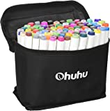 Ohuhu 48 Colors Dual Tips Art Sketch Twin Permanent Marker Pens Highlighters with Carrying Case for Drawing Coloring Highlighting and Underlining