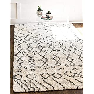 Unique Loom Rabat Shag Collection Tribal Moroccan Nomad Plush Pure Ivory Area Rug (8' 0 x 10' 0)