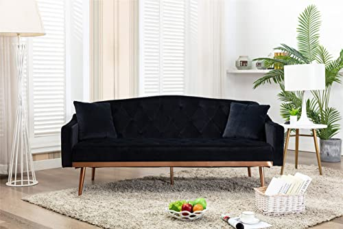 Velvet Futon Sectional Sofa Bed GoTen Modern Convertible Loveseat Sleeper Couch