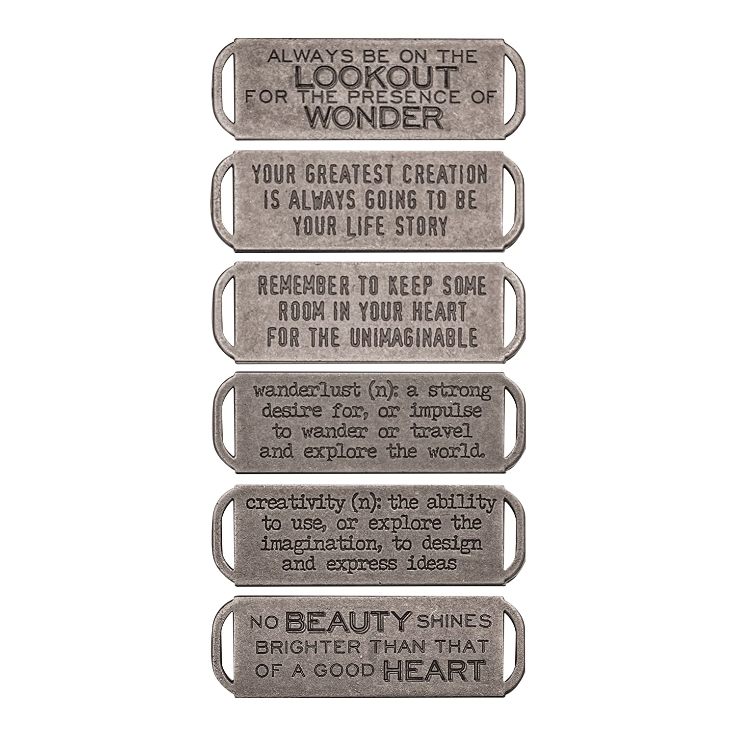 Tim Holtz Idea-ology Metal Stamped Quote Bands 6/Pack, Antique Nickel Finish (TH93290) Advantus