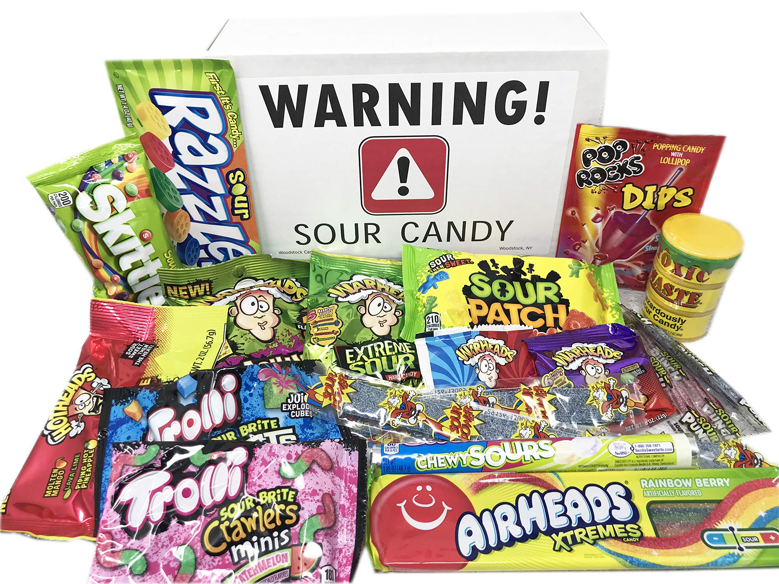Super Sour Candy Assortment with Toxic Waste, Sour Patch Kids, Warheads Extreme Hard Candy, Belts, Smashups, Straws, Pop Rocks Dip, Skittles, Watermelon Sour Candies ~ Jr by Woodstock Candy