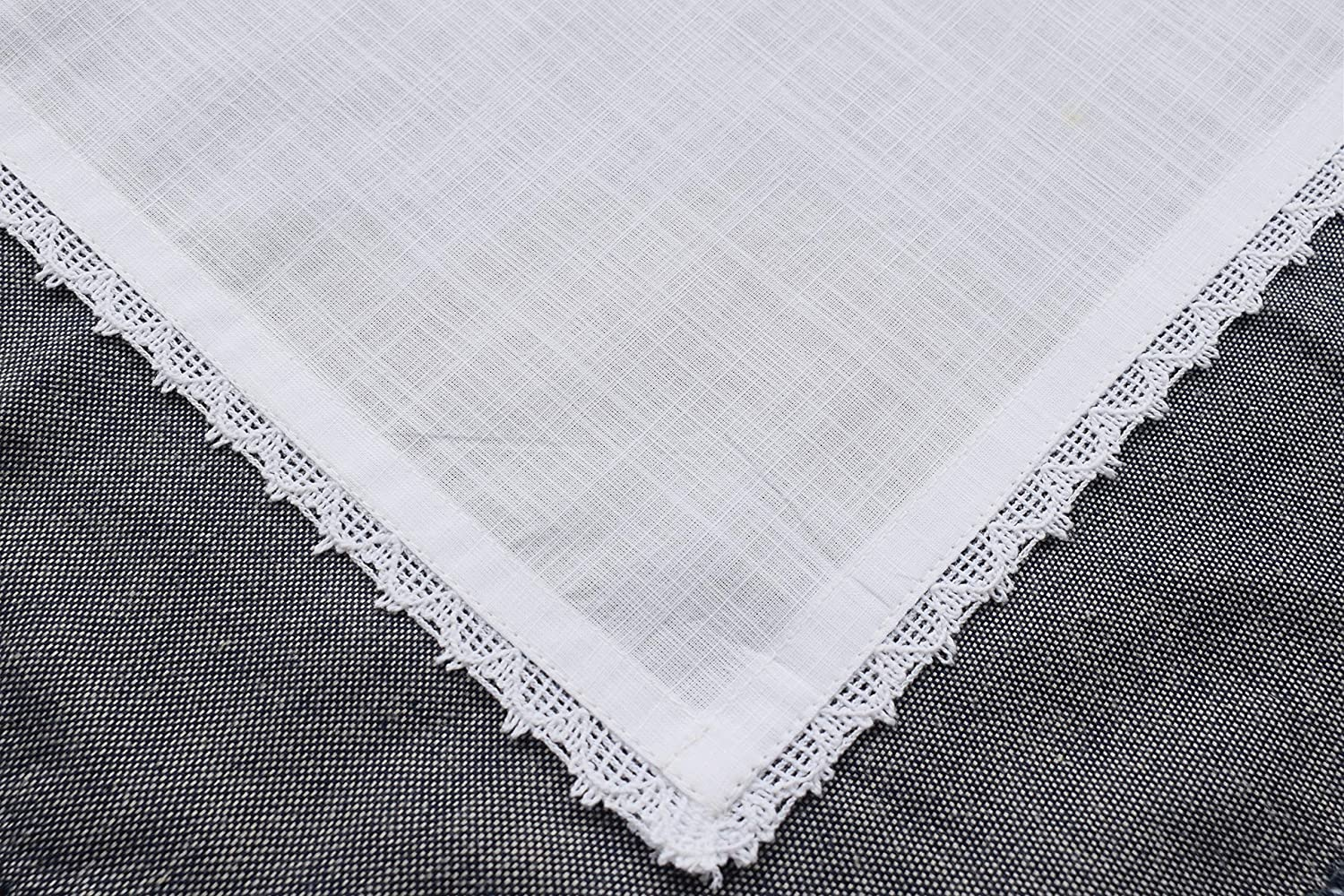 6Pack Women Handkerchief in texture cotton fabric with lace 12x12 White
