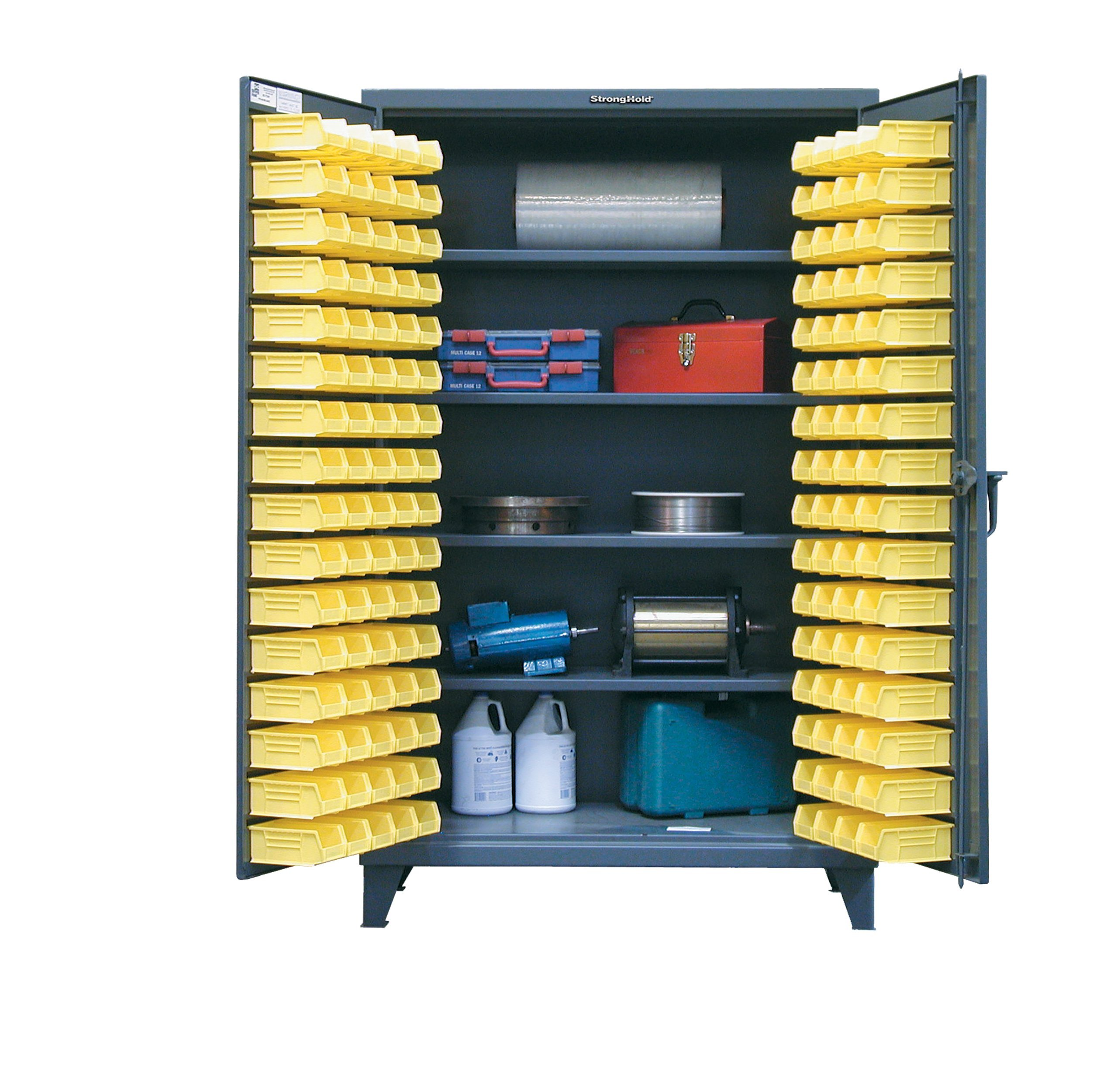 Strong Hold, 48''W x 24''D x 78''H, Bin Cabinet, 144 Small-Parts Storage Bins (Included), Heavy-Duty, Welded and Assembled, 12-Gauge Steel, 4 Adjustable Shelves 1,200 lbs. Capacity