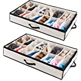 Woffit Under The Bed Shoe Organizer Fits 12 Pairs – Made with Sturdy & Breathable Materials – Set of 2 Underbed Storage…