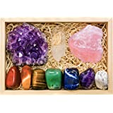 Crystalya Premium Grade Crystals and Healing Stones in Wooden Display Box - 7 Tumbled Chakra Gemstones, Amethyst Crystal, Ros