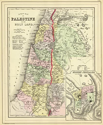 1890 World Map.Amazon Com World Atlas 1890 Palestine Jerusalem Historic