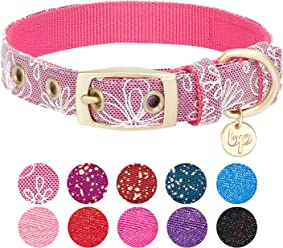 Blueberry Pet Pack of 1 The Most Coveted Metallic Thread Dog Collar or Pack of 2 Mix Match Designer Dog Collars