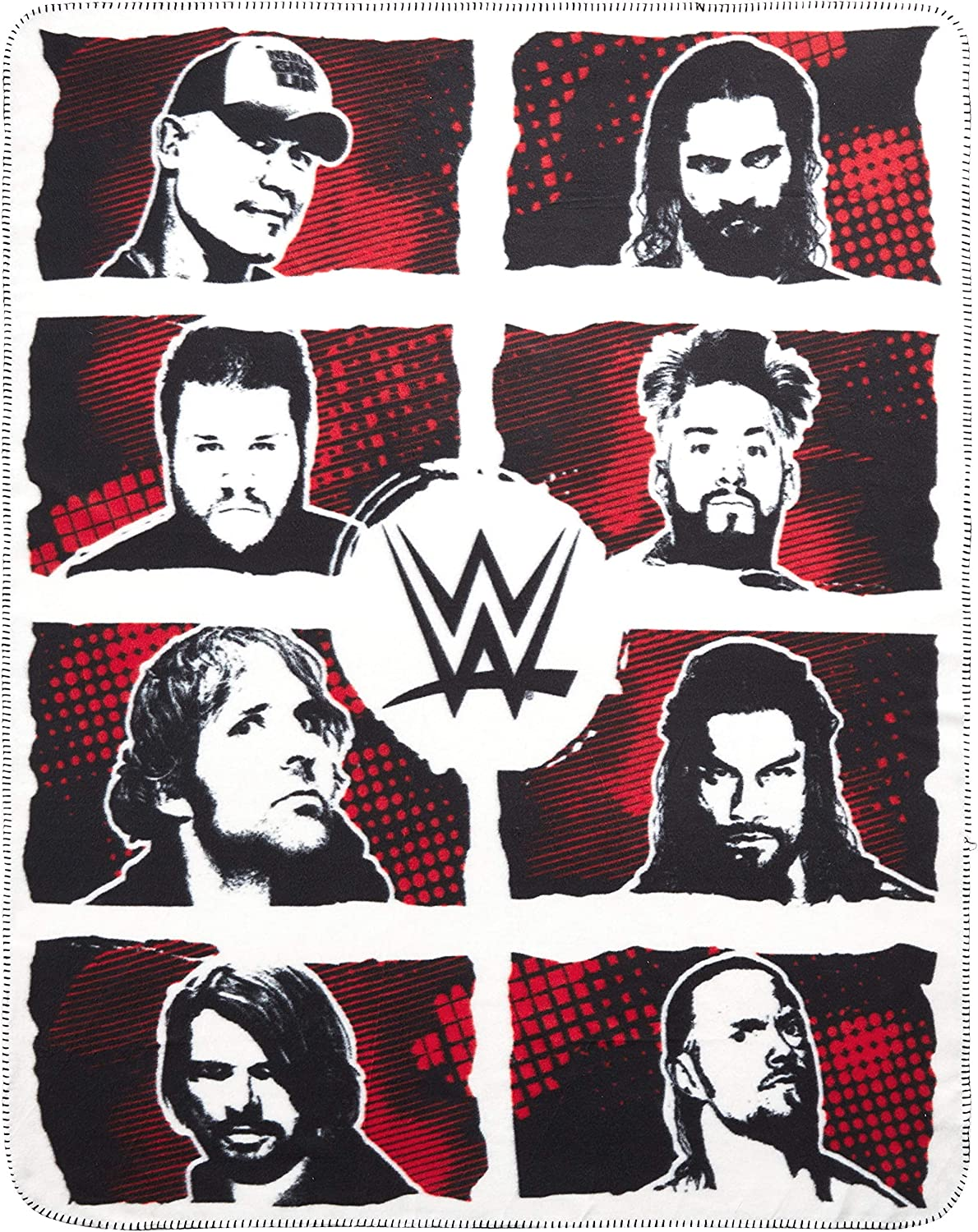 The Silver Buffalo WE121221 WWE Superstar Grid Ink Fleece Throw, 50-in. x60-in.
