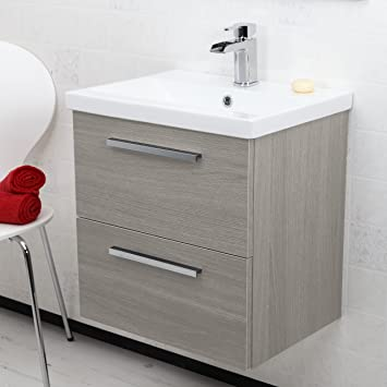 500mm wall hung bathroom vanity unit basin single tap hole grey ash modern - Bathroom Vanity Units