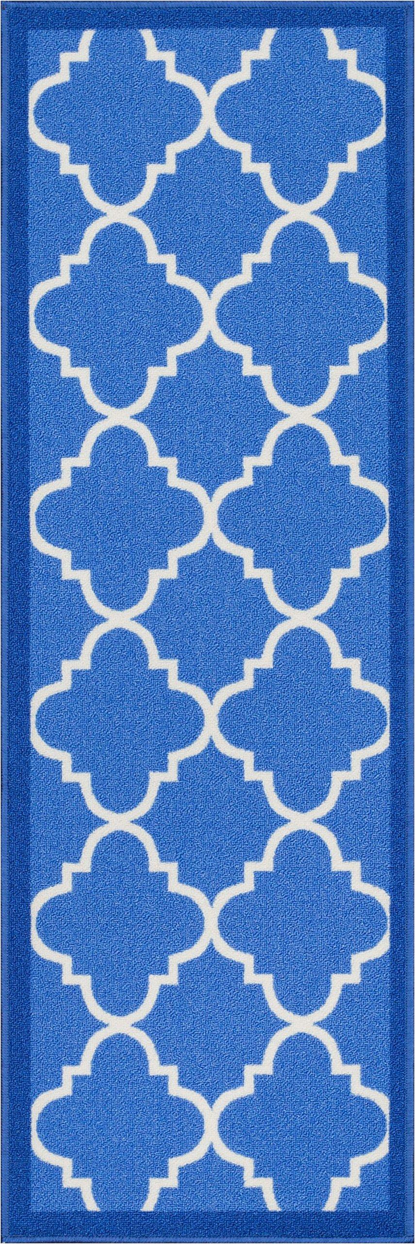 Well Woven 6516-2L Kings Court Brooklyn Trellis Modern Blue Geometric Lattice 2'7'' x 12' Runner Indoor/Outdoor Area Rug