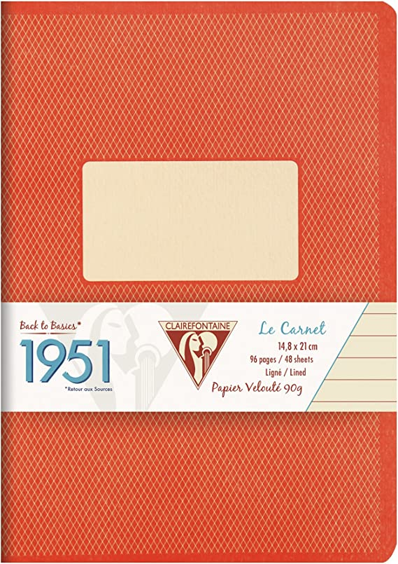 1 St/ück farbig sortiert DIN A5, 14,8 x 21 cm, liniert, 48 Blatt Clairefontaine 195136C Back to basics 1951 Heft
