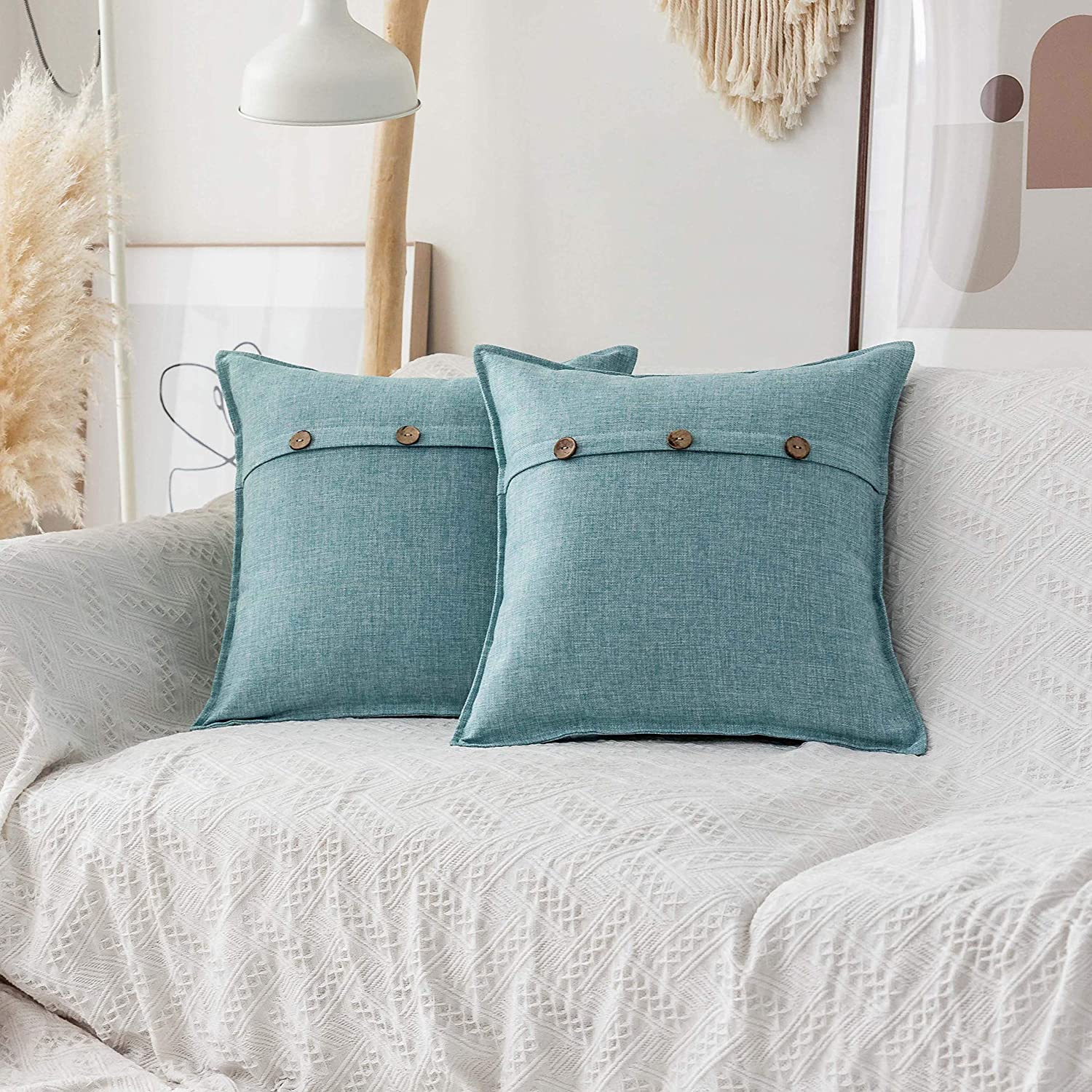 Home Brilliant Decorative Pillows Covers with Buttons Lined Linen Cushion Covers for Bed Couch, Set of 2, 18x18 inches(45cm), Teal