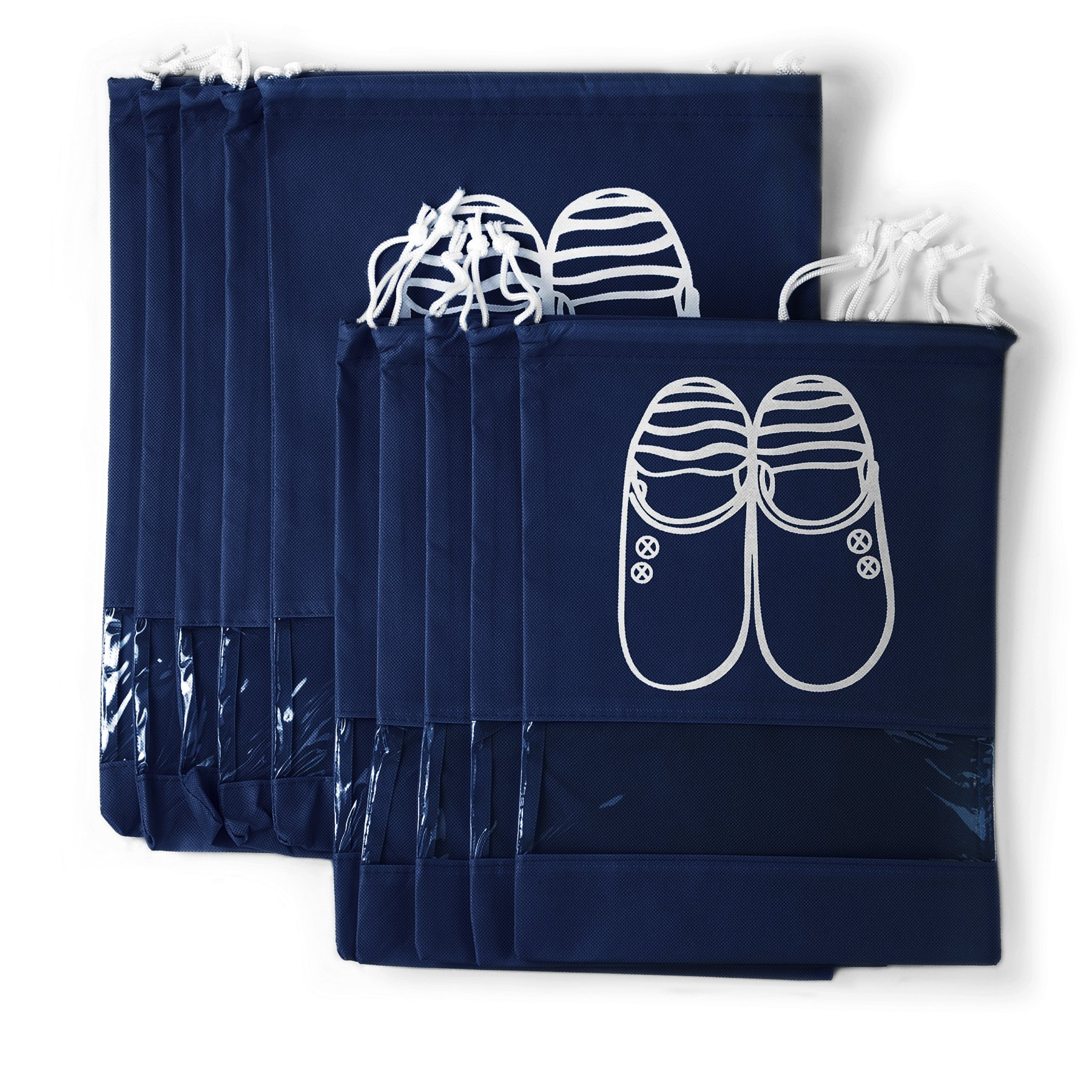 Yoonsic 10 Pcs Non-woven Drawstring Shoe Travel/Storage Bag with Clear View Window for Trip and luggage/seasonal Packing-with bonus self-sealing bag (navy) by Yoonsic