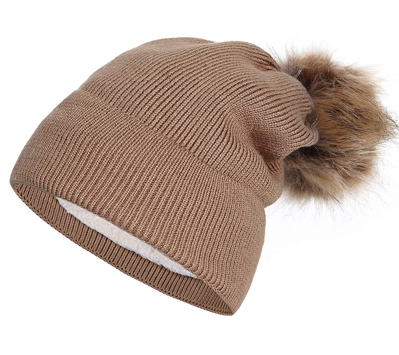 9c6f5917 NEOSAN Pom Pom Women Knit Cuffed Chunky Skull Hats Beanie Lining Cap Black  at Amazon Women's Clothing store: