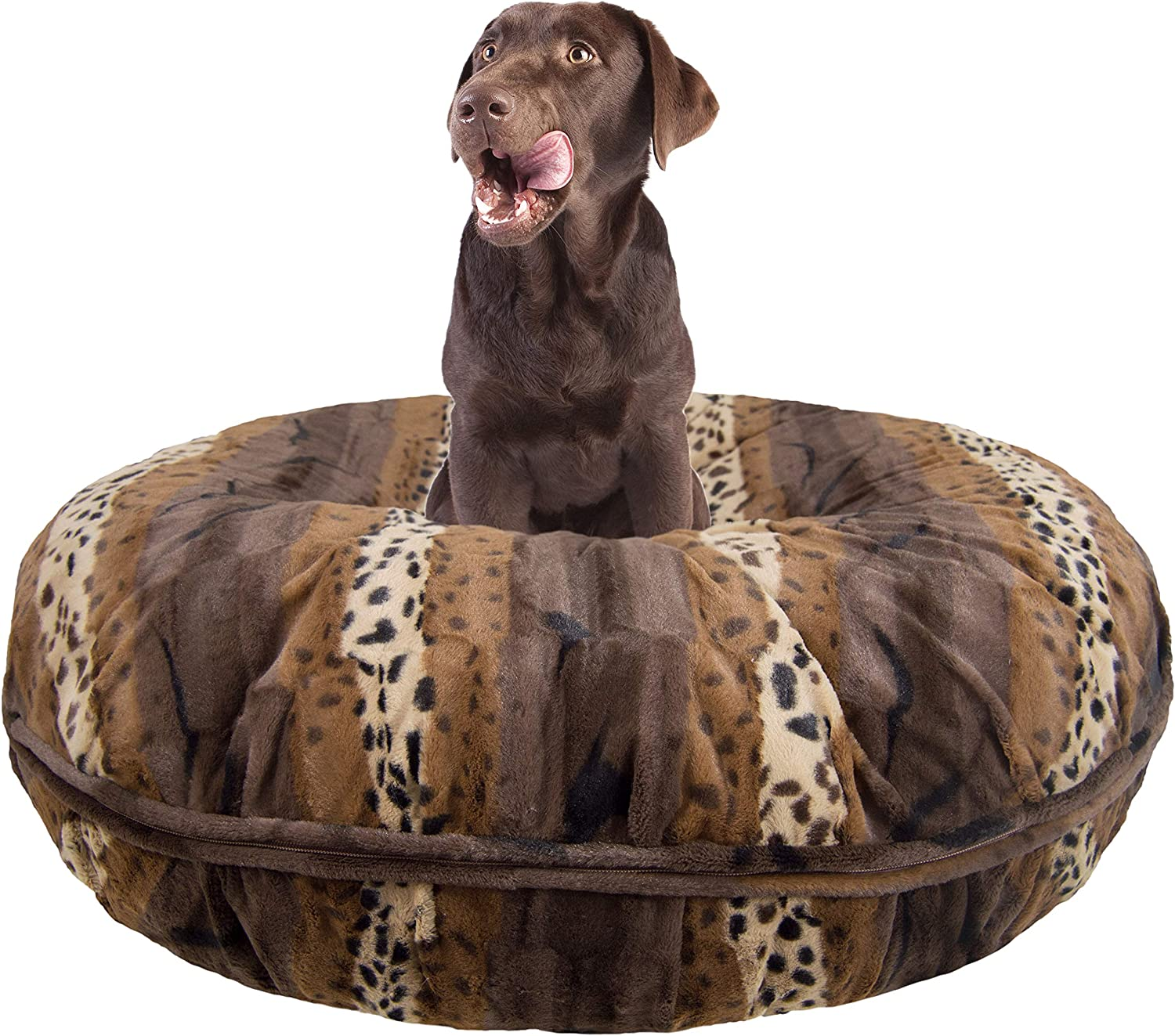 BESSIE AND BARNIE Signature Wild Kingdom Luxury Extra Plush Faux Fur Bagel Pet Dog Bed Multiple Sizes