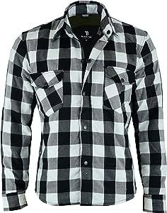 Black Tab - Camisa de motociclista con forro de Kevlar, color negro y blanco: Amazon.es: Coche y moto