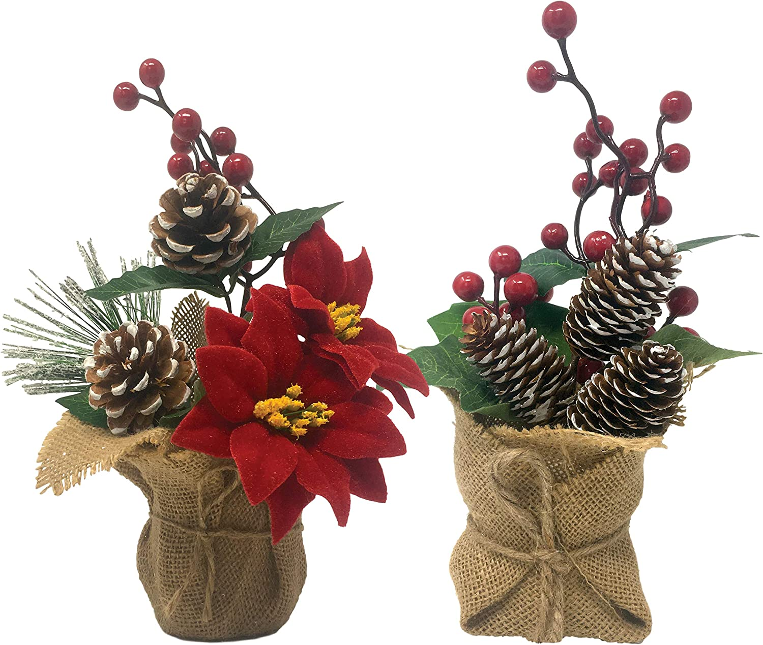 Small Potted Christmas Trees - Set of 2 Tabletop Arrangements - Red Poinsettia, Berries and Pinecones - Burlap Base Farmhouse Décor - Approximately 10 Inches Tall