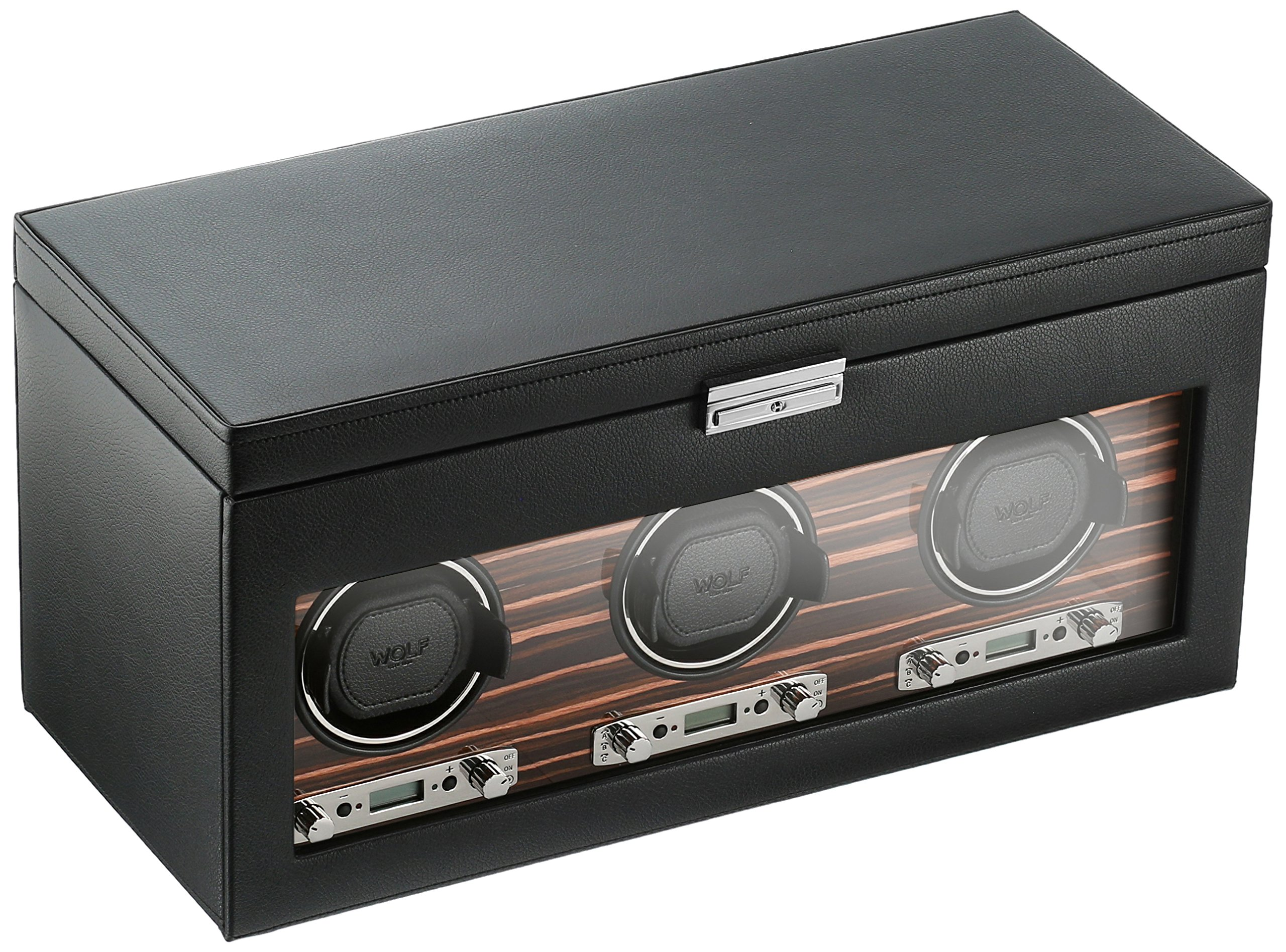 WOLF 457356 Roadster Triple Watch Winder with Cover and Storage, Black by WOLF (Image #1)