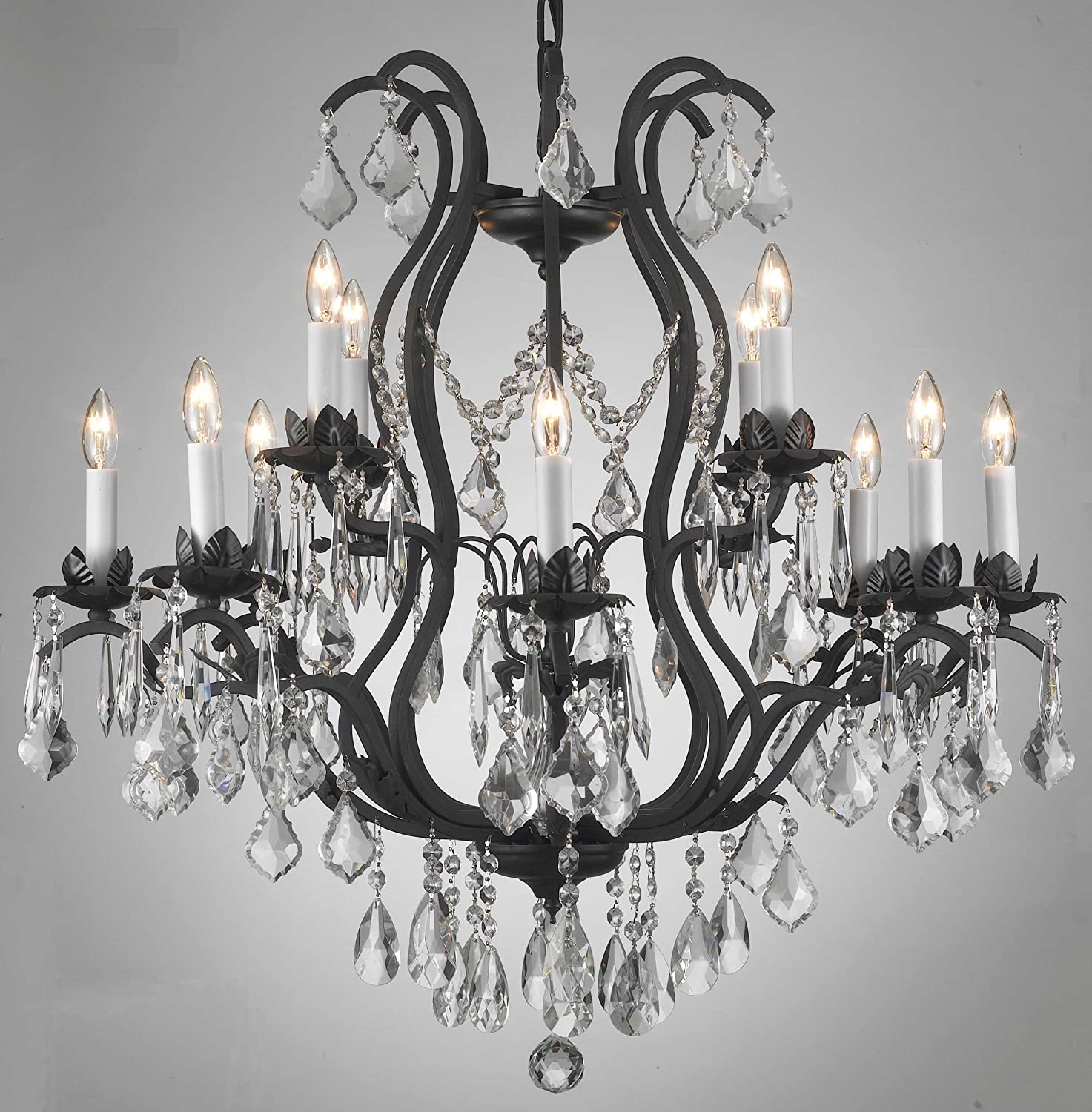 Wrought Iron Crystal Chandelier H30 X W28 Lighting Com