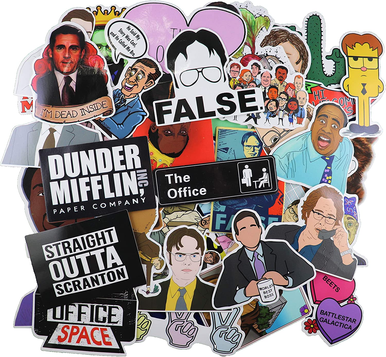 The Office Merchandise Sticker 62pcs Pack - The Office Stickers for Laptops, Dunder Mifflin Stickers, The Office Laptop Stickers, Funny Stickers for Laptops, Computers,Waterproof Vinyl Water Bottle