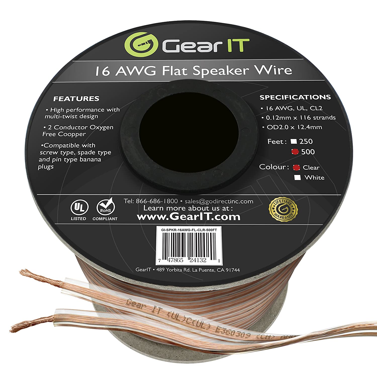 GearIT Elite Series 16AWG Flat Speaker Wire (500 Feet / 152 Meters) - Oxygen Free Copper (OFC) CL2 Rated in-Wall Installation for Home Theater, Car Audio, and Outdoor Use, Clear