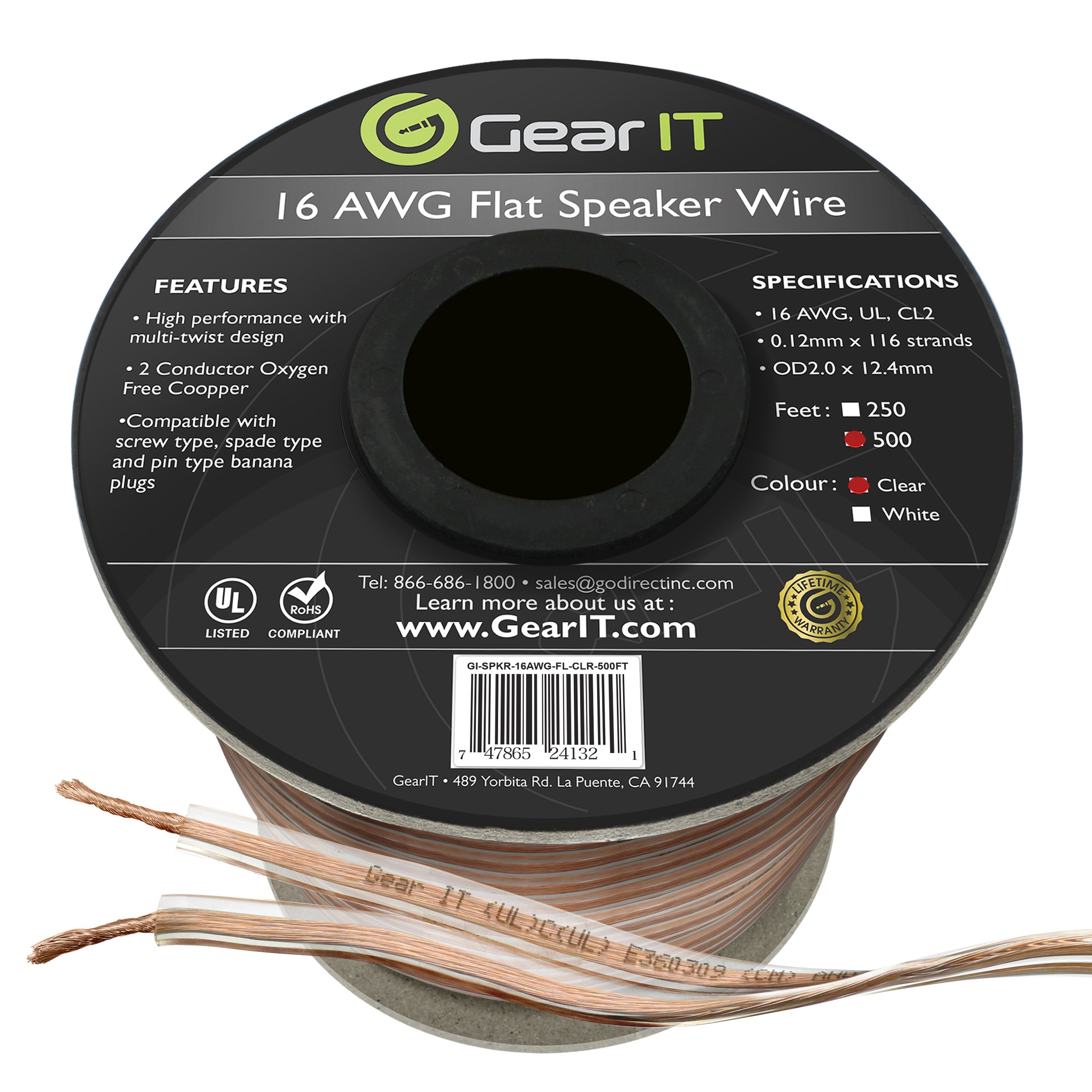 GearIT Elite Series 16AWG Flat Speaker Wire (500 Feet / 152 Meters) - Oxygen Free Copper (OFC) CL2 Rated In-Wall Installation for Home Theater, Car Audio, and Outdoor Use, Clear by GearIT