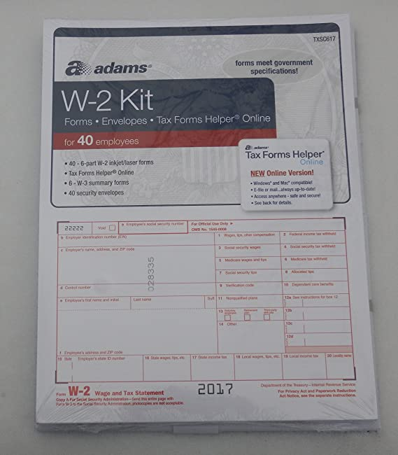 Amazon Com Adams 2017 W 2 Tax Forms Kit W2 For 40 Employees