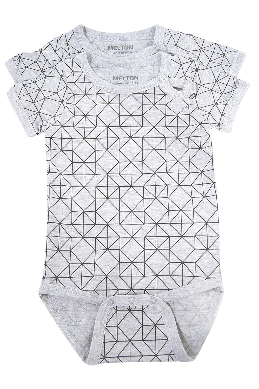 Melton Unisex Einfarbig 2er Pack Baby Body Numbers Rippenbody Kurzarm
