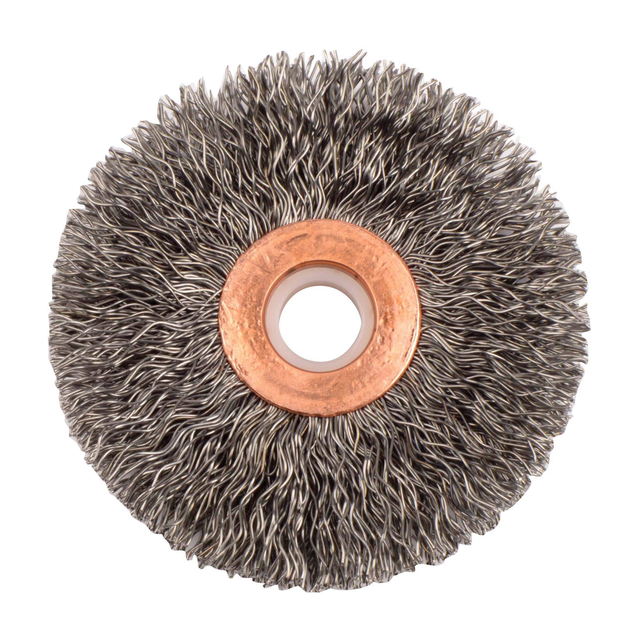 Weiler 15523 Crimped Wire Wheel, 2-1/2'' Small Diameter, 0.14'' Steel Fill, 1/2''-3/8'' Arbor Hole (Pack of 10)