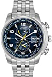 Citizen Watch World Time A.T Men's Quartz Watch with Blue Dial Analogue Display and Silver Stainless Steel Bracelet AT9010-52L