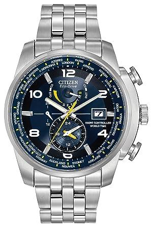 citizen watch world time a t men s quartz watch blue dial citizen watch world time a t men s quartz watch blue dial analogue display and silver stainless