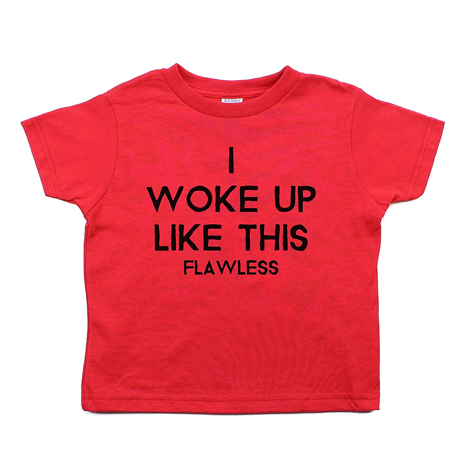 Crazy Baby Clothing I Woke Up Like This Toddler Short Sleeve Cotton T-Shirt