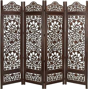 Deco 79 Wood Screen 4 Panel Decorative Protection