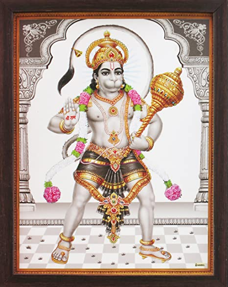 Lord Hanuman with His Weapon Gadha and Giving Blessings, a