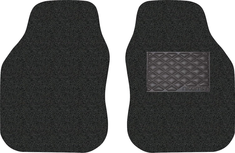 Front 2-Piece Nicoman Universal Car Mats Non-Slip PVC Rubber Heavy Duty Easy Clean Floor Mat