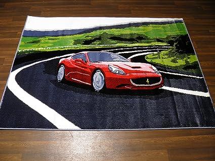 Woven Backed Kids Super Car Ferrari Rug 120cm X 170cm Approx 6x4 Amazon Co Uk Kitchen Home